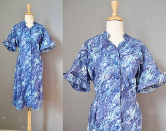 Blue Cotton House Dress / Vtg 60s / Blue Abstract Print shirtwaist dress / Button down dress / Shirt dress
