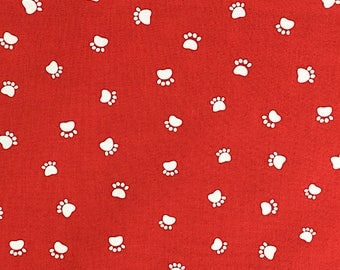 Paw Prints on Red - Dogs World - Red Rooster Fabrics - 100% Cotton Fabric - DOG-01