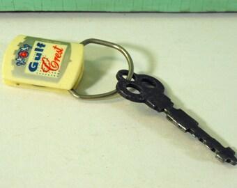 Vintage Gulf Crest Service Station Advertising Key Ring, New Washington, Ohio, Vintage Keychain with Flat Skeleton Key