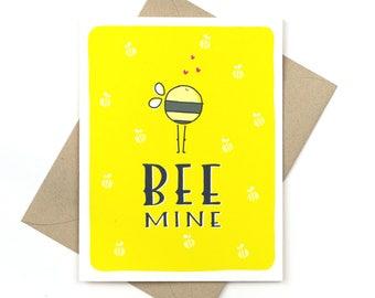 bee mine - valentine's day card - love card