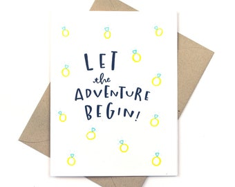 engagement card - wedding card - let the adventure begin diamonds