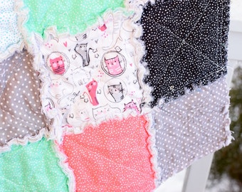 Baby Rag Quilt- Ready to ship Rag Quilt, baby shower gift, cat rag quilt, colorful rag quilt, pink rag quilt, black rag quilt