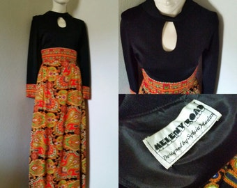 Vintage maxi dress psychedelic paley print hostess dress oversize keyhole cutout Meleny Road by Sylva Madon