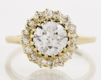 Antique Engagement Ring - Antique Victorian 14k Yellow Gold 2.34ctw Diamond Flower Cluster Ring