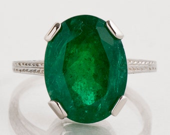 Antique Ring - Antique 1910's 14k White Gold Emerald Cocktail Ring