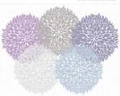 50% OFF  - Clipart - Dahlia Flowers (Lilac) - Digital Clip Art (Instant Download)
