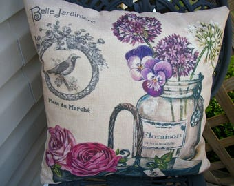 French Provence  Pillow Cover, 18 x 18  Pillow Cover, Rose and Bird Design Shabby Cottage Paris Chic French Farmhouse Home Decor