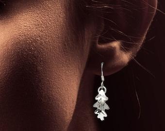 Oak Leaf Earrings, Sterling Silver, Leaf Ring, Woodland Jewelry, Leaf Charm