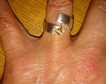 Bat ring, Sterling silver ring, sterling silver band ring, goth ring, unisex ring, Brass bat ring.