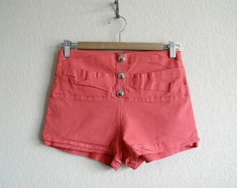 Vintage 90s High Waisted Shorts, 90s Hot Pants, Womens Shorts, Salmon Pink, Short Shorts, Yoga Shorts, Button Shorts, Spandex, Stretchy, Med
