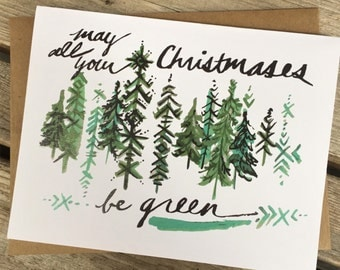 6 Holiday Greeting Cards / Northwest Holiday Card / Green Christmas