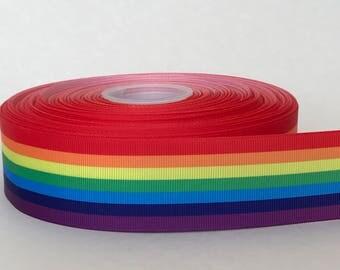 "1-1/2"" Rainbow Gay Pride Grosgrain Ribbon"
