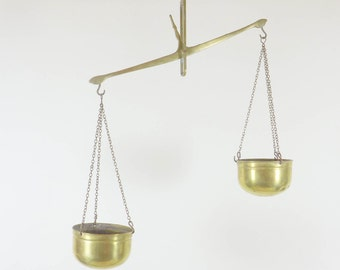 Vintage hanging brass planter