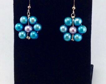 Blue pearl earrings,dangle earrings, sterling silver earrings,freshwater pearl earrings,blue drop earrings,wire wrapped earrings