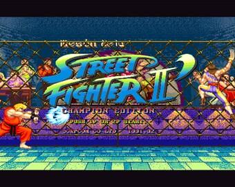 Video Game Art - Street Fighter 2 - Digital Art Print - Arcade Tribute