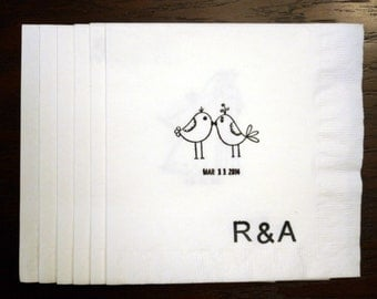 Wedding Napkins, Love Birds Rustic Wedding Napkins, with date, Hand Stamped, set of 50, cocktail, luncheon,Rush Order Available