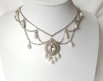 Vintage Romance Crystal Pearl Festoon Necklace, Vintage Bohemian Bridal Necklace, Fair Trade, Vegan Friendly