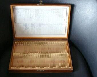 Old Wood Case Filled with 92 Glass Medical Slides, Vintage Medical Estate