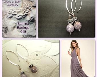 Jewellery, Earrings, Beaded Earrings, Sterling Earrings, Purple Earrings, Purple and Crystal Earrings, Summer Earrings, Boho Chic, Gift