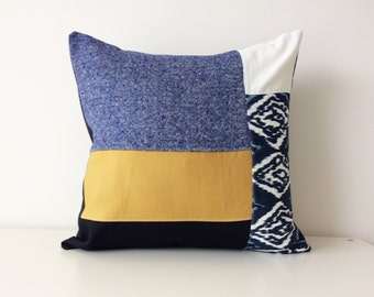 Contemporary Patchwork Pillow Cover, Navy, Mustard, Cream, Designer Fabrics, Texture, Neutral, Pattern Block, Modern, Ikat, Color Block,