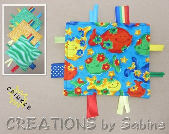 Mini Crinkle Baby Tag Blanket Toy Sensory Friendly Fish Flowers Blue Red Rainbow Animal Print Tiger Yellow Blue Boy READY TO SHIP (297b)