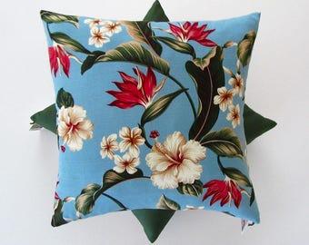 Bird of paradise tropical barkcloth cushion cover