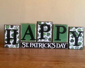 St. Patricks Day decor, Happy St patricks day Blocks, St Patricks Day sign , home decor, Wood block letters, wood block sign, St Pattys day