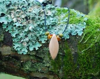 Minimalist Choker Juniper Wood Unisex Rhombus Pendant, Nature Eco Friendly Boho Hippie Amulet, Wood Rustic Amber Unisex Pendant,