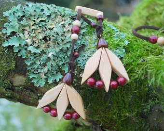 Spring Tulips Birch Cherry Wood Necklace, Nature Eco Friendly Wooden Flower Pendant, Woodland Rustic Necklace, Boho Hippie Flowers Pendant