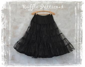 1950s Petticoat Skirt, Vintage Tulle Layered Petticoat, 1950s Crinoline, 3 Tier Petticoat, Black Petticoat, Ruffle Petticoat, Medium