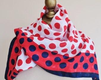 POLKA dot scarf, red white blue, square scarf, ladies headscarf, hair wrap, patriotic accessory,  shawl, vintage scarf, 80s fashion