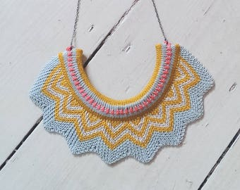 Knitted Chevron Necklace - Mustard, ice blue and pink