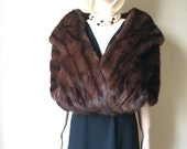 Convertible! 40s/50s sable mink stole wrap coat | dark brown fur stole | one size