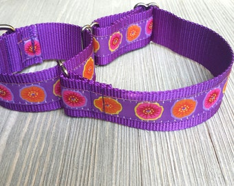 "1 1/2""  Martingale Collar, Orange, Purple and Pink Floral Pattern"