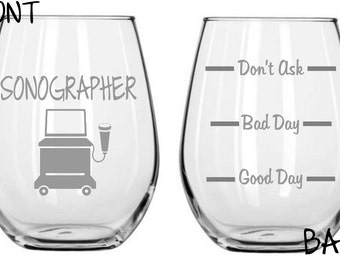 Sonographer Sand Etched Glass FREE Personalization