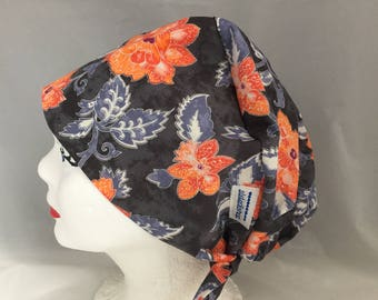 Scrub Hat Tie Back Pixie Style Grey with Orange Floral Print