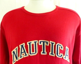 vintage 90s Nautica red jersey knit graphic sweatshirt sweater white embroidered navy beige applique felt curve spellout logo pullover large