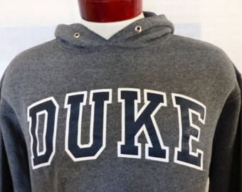 go Blue Devils vintage 80's Duke University charcoal heather grey fleece graphic hoodie sweatshirt navy blue white curve logo print Large
