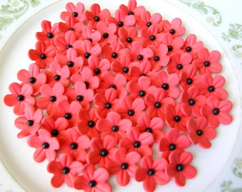 30 RED BLOSSOMS with Black Center Pearl  /   Gum Paste Flowers / Edible Cake Topper and Cupcake Decorations