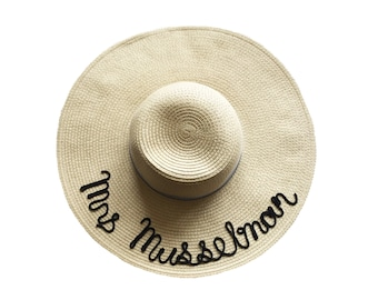 Straw Hat Personalized with Name in Cursive
