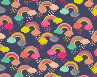 Fat Quarter Fantasy Rainbow Dark Blue 100% Cotton Quilting Fabric Makower