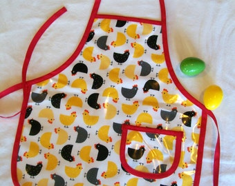 Chicken Vinyl Child Apron - Vinyl Red Yellow and Black Child Apron with Chicken Print - Size Medium