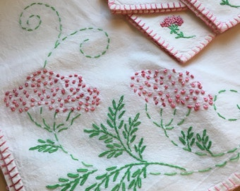 Hand embroidered tea tablecloth and matching napkins