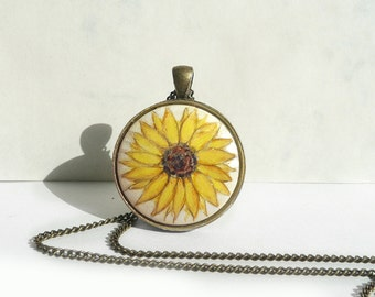 Sunny Yellow Sunflower Pendant Necklace, Hand Painted Jewelry, Vintage Look, Small Acrylic Painting on Wood, Handmade Jewelry