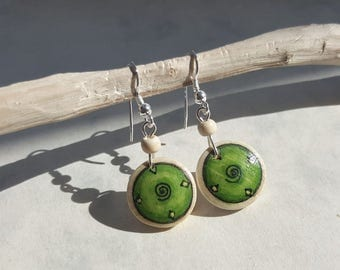 Hand Painted Green Earring, Button Dangle Earring,  Natural Wood Jewelry, Silver Ear Wires, Everyday Earrings, Handmade Earrings Wood Silver