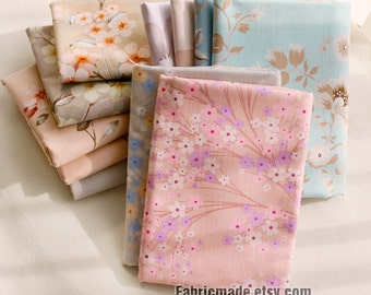 """98""""/ 250cm Wide Shabby Chic Floral Cotton Fabric, Lyocell Linen Cotton Blended Fabric- 1/2 Yard"""
