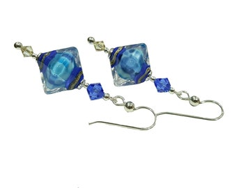 Aqua Bicone glass lampwork bead earrings with Sapphire blue and Luminous Swarovski crystals, Sterling Silver Earwires