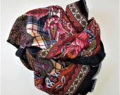 "Vintage paisley and plaid silk and floral scarf, burgundy and black, fringed hem, French Country, Woman's Accessory,  35"" x 36"", gift idea"