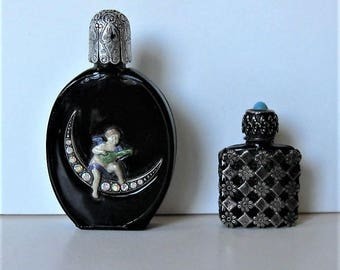 2 small Vintage Perfume Bottles, Made in France, Art Deco, black, silver filigree, winged cupid, rhinestone moon, vanity decor, gift idea,