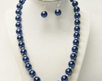 12mm Dark Dusty Blue Glass Pearl Necklace/Bracelet/Earrings Set
